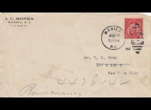 Philippines 1930: Manila to New York City, forwarded