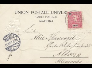 Madeira: 1902: post card Funchal Perfin to Altona