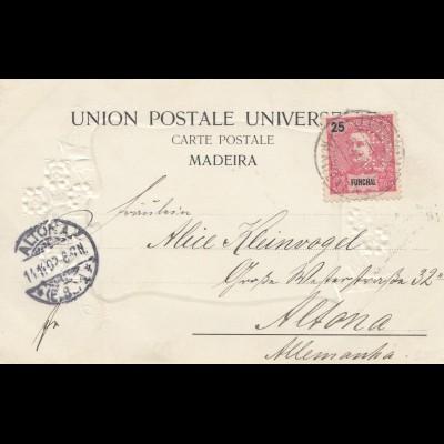 Madeira: 1902: post card Funchal Perfin to Altona