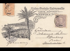 Madeira 1902: post card Funchal to Offenburg