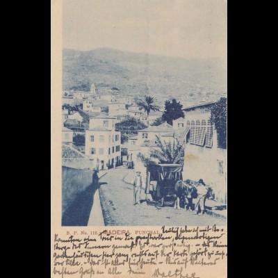 Madeira 1908: post card Funchal to Stuttgart
