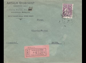 Mocambique 1930 Registered Lourenco to Zeitz