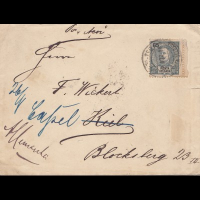Acores 1898: S. Miguel to Kiel, forwarded to Kassel