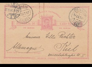 Saint Vincent 1897: post card Porto Grande to Kiel
