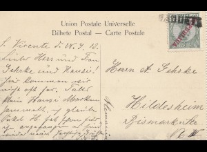 Saint Vincent 1913: post card Cabo Verde to Hildesheim