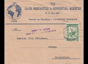 Mocambique 1944 Lourenco to Arnegg/Switzerland, Censor