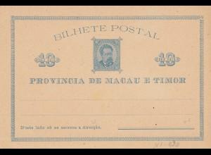 Bilhete Postal: Macau e Timor, unused card 10 dez Reis