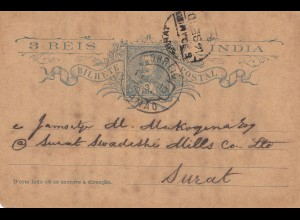 India: post card 1910 to Surat