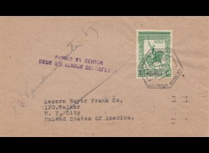 Mocambique 1944 Lourenco to New York City, Censor
