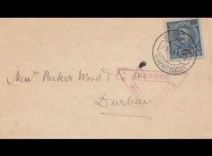 Mocambique 1902: Lourenco Marques to Durban, Censor