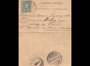 Acores: 1897 post card Ponta Delgada to Lisboa