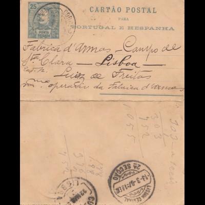 Acores: 1897 post card Ponta Delgada to Lisboa