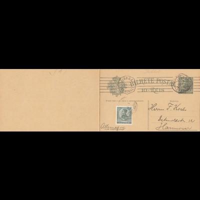 Acores: 1910 post card via Lisboa to Hannover