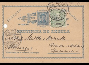 Angola: 1908: post card Lobito to Dresden