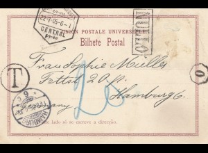 Mocambique 1905: post card Delagoa bay to Hamburg, Taxe, Nullo