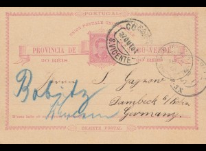 Saint Vincent 1901: poost card adress Barbados to Dambeck/Berlin