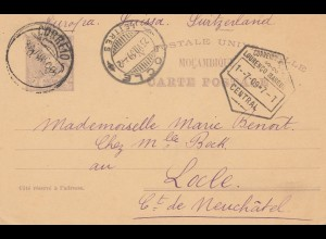 Mocambique 1909: post card Lourenco Marquesto Locle/Neuchatel