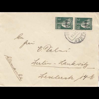 Acores: letter from Horta to Berlin-Lankwitz
