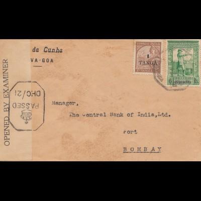 West India: Goa to Bombay 1942, british censor