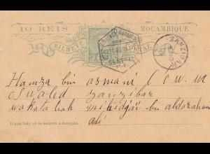 Mocambique 1903: post card Lourenco Marquesto to Zanzibar !!!