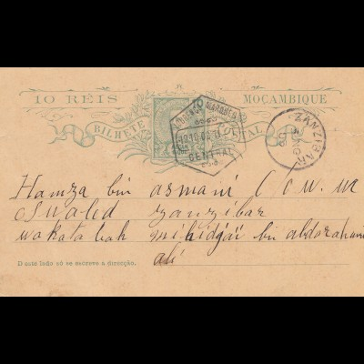 Mocambique 1903: post card Lourenco Marquesto to Zanzibar !!!