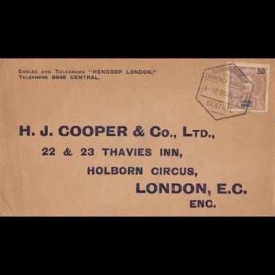 Mocambique 1909:letter Lourenco Marquesto to London