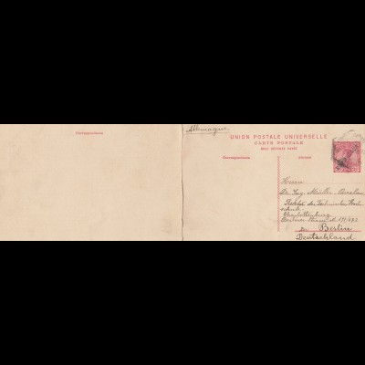 Acores: 1911, post card with respons card to Berlin