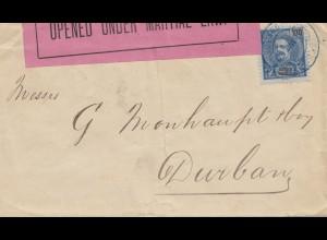 Mocambique 1900: letter Lourenco Marquesto to Durban, opened under martial law