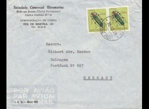 Guinea: 1959 air mail Guine Port to Solingen