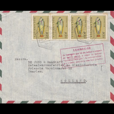 Mocambique 1954: letter Lourenco Marquesto to Haarlem/Holland, fish