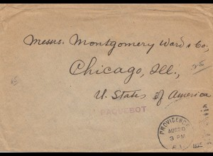Acores: 1920: letter Paquebot to Chicago