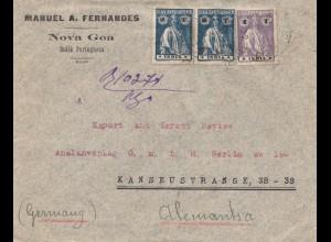 West India: 1922 Nova Goa to Berlin, Zug als Einschreiben eingegangen