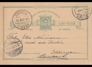 Cabo Verde: 1895: post card St. Vicente to Göttingen