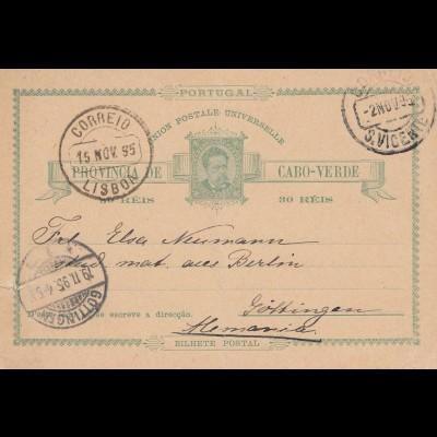 Cabo Verde: 1895: post card St. Vicente to Göttingen