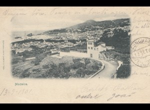 Madeira 1901: post card Funchal to Neuburg
