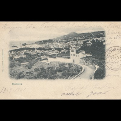 Madeira 1901: post card Funchal to Neuburg