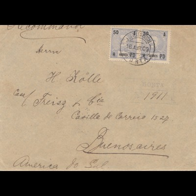 Acores: 1909: Horta registered to Buenos Aires