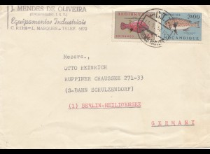 Mocambique 1952 letter from L. Marques to Berlin-Heiligensee, Schulzendorf, fish