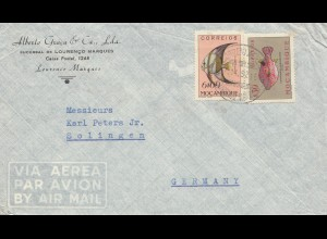 Mocambique 1952 letter from L. Marques to Solingen, Fische-fishes