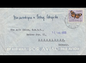 Mocambique 1955 air mail Beira to Düsseldorf -Auto Union, Schmetterling/papillon