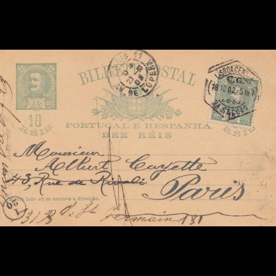Portugal: 1902: post card to Paris L' Opera