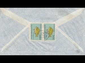 Mocambique 1955: Quelimane via air mail to Nürnberg, Fisch/fish