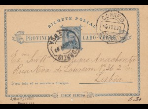 Cabo Verde: 1893: post card to Lisboa