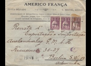Acores 1922: Couraca registered letter to Berlin
