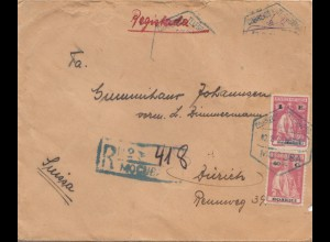 Mocambique 1931: Registerd letter to Zürich