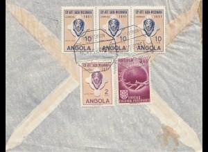 Angola: 1953: air mail Nova Lissaboa to Braunschweig, lion, plane