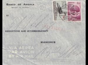 Angola: 1952: air mail Luanda to Braunschweig, Perfin