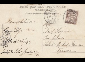 Madeira 1913: post card St. Mirie to Saint Mihiel-Meuse/France