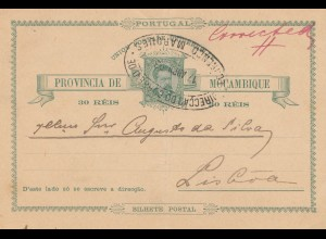 Mocambique 1894: post card to Lisboa