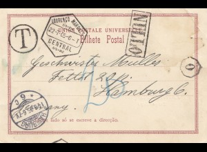 Mocambique 1905: post card Lourenco Marques, Tax to Hamburg